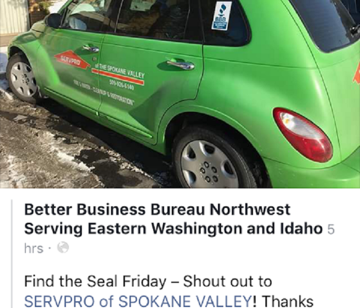 SERVPRO of Spokane Valley vehicle at a Commercial Marketing event Feb. 2017